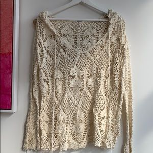 Free People silk/linen/cotton embroidered hoodie